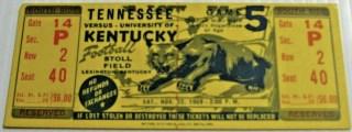 1969 NCAAF Kentucky Wildcats ticket stub vs Tennessee