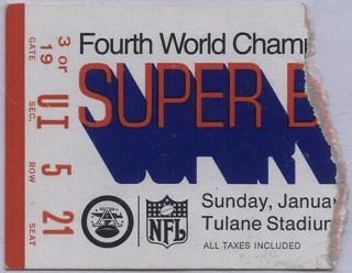 1970 Super Bowl ticket stub Chiefs vs Vikings 153