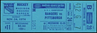 1974 New York Rangers ticket stub vs Penguins 10