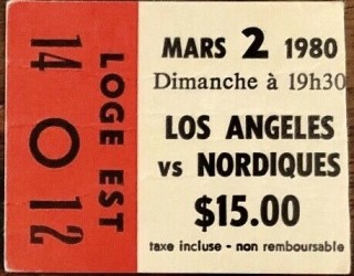 1980 Quebec Nordiques ticket stub vs Los Angeles