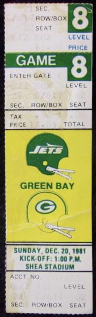 1981 New York Jets Full Ticket vs Green Bay Packers 20