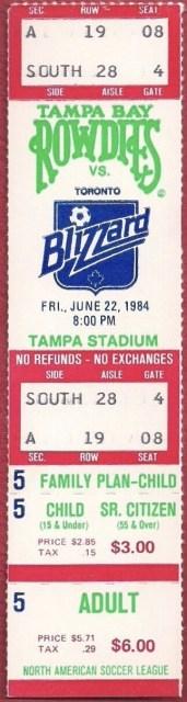 1984 NASL Tampa Bay Rowdies ticket vs Toronto