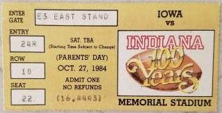 1984 NCAAF Indiana University ticket stub vs Iowa 19
