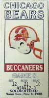 1988 Chicago Bears ticket stub vs Buccaneers