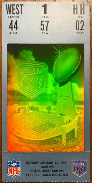1991 Super Bowl ticket Giants over Bills 31