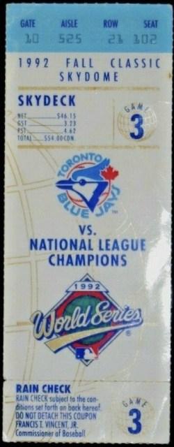 1992 World Series Game 3 ticket stub Braves at Blue Jays