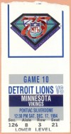 1994 Detroit Lions ticket stub vs Vikings