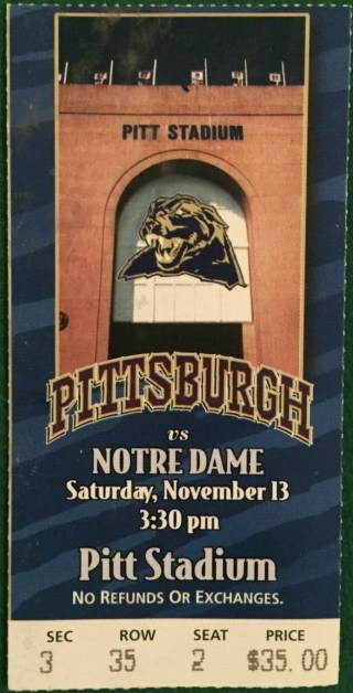 1999 Pitt Stadium Final Game Ticket stub