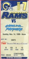 1999 St. Louis Rams ticket stub vs Panthers