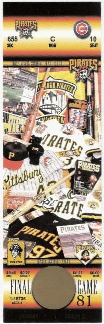 2000 Last Pittsburgh Pirates ticket stub Three Rivers Stadium 18