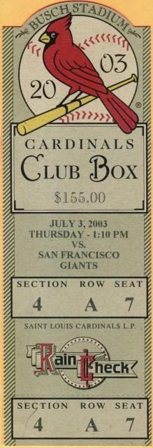 2003 St. Louis Cardinals ticket stub vs Giants 25
