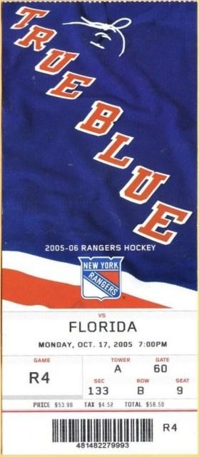 2005 Florida Henrik Lundqvist 1st shutout ticket stub