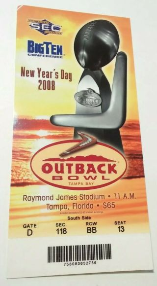 2008 Outback Bowl ticket stub Tennessee vs Wisconsin 12
