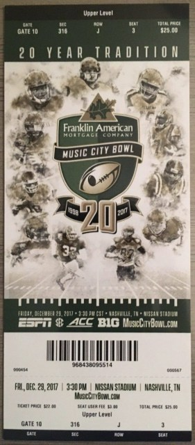 2017 Music City Bowl ticket stub Kentucky vs Northwestern