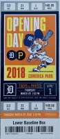 2018 Tigers Opening Day ticket stub vs Pirates