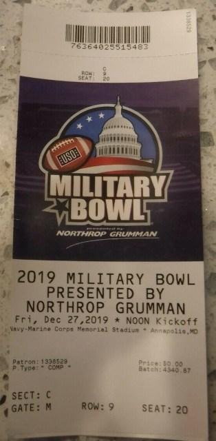 2019 Military Bowl Ticket Stub North Carolina vs Temple 11
