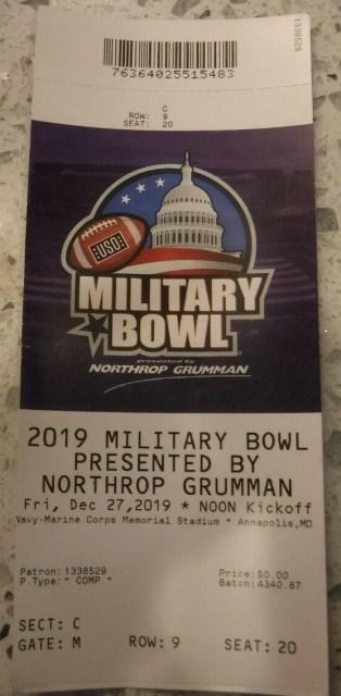 2019 Military Bowl Ticket Stub North Carolina vs Temple