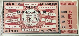 1941 NCAAF TCU Horned Frogs ticket stub vs Texas A and M