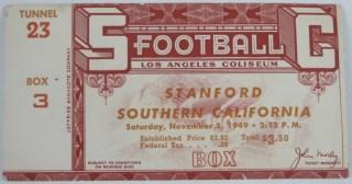 1949 NCAAF USC Trojans ticket stub vs Stanford
