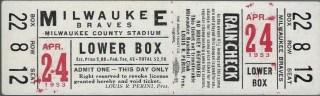 1953 Milwaukee Braves unused ticket 39
