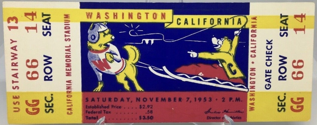 1953 NCAAF California Bears ticket stub vs Washington