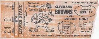1960 Cleveland Browns ticket stub vs Lions