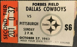 1963 Pittsburgh Steelers ticket stub vs Cowboys