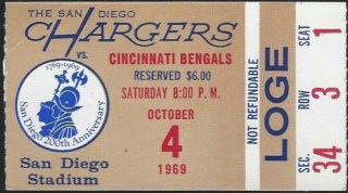 1969 San Diego Chargers ticket stub vs Bengals 19