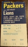 1970 Green Bay Packers ticket stub vs Detroit
