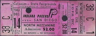 1972 ABA Indiana Pacers ticket stub vs San Diego Qs 19