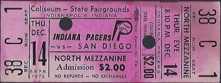 1972 ABA Indiana Pacers ticket stub vs San Diego
