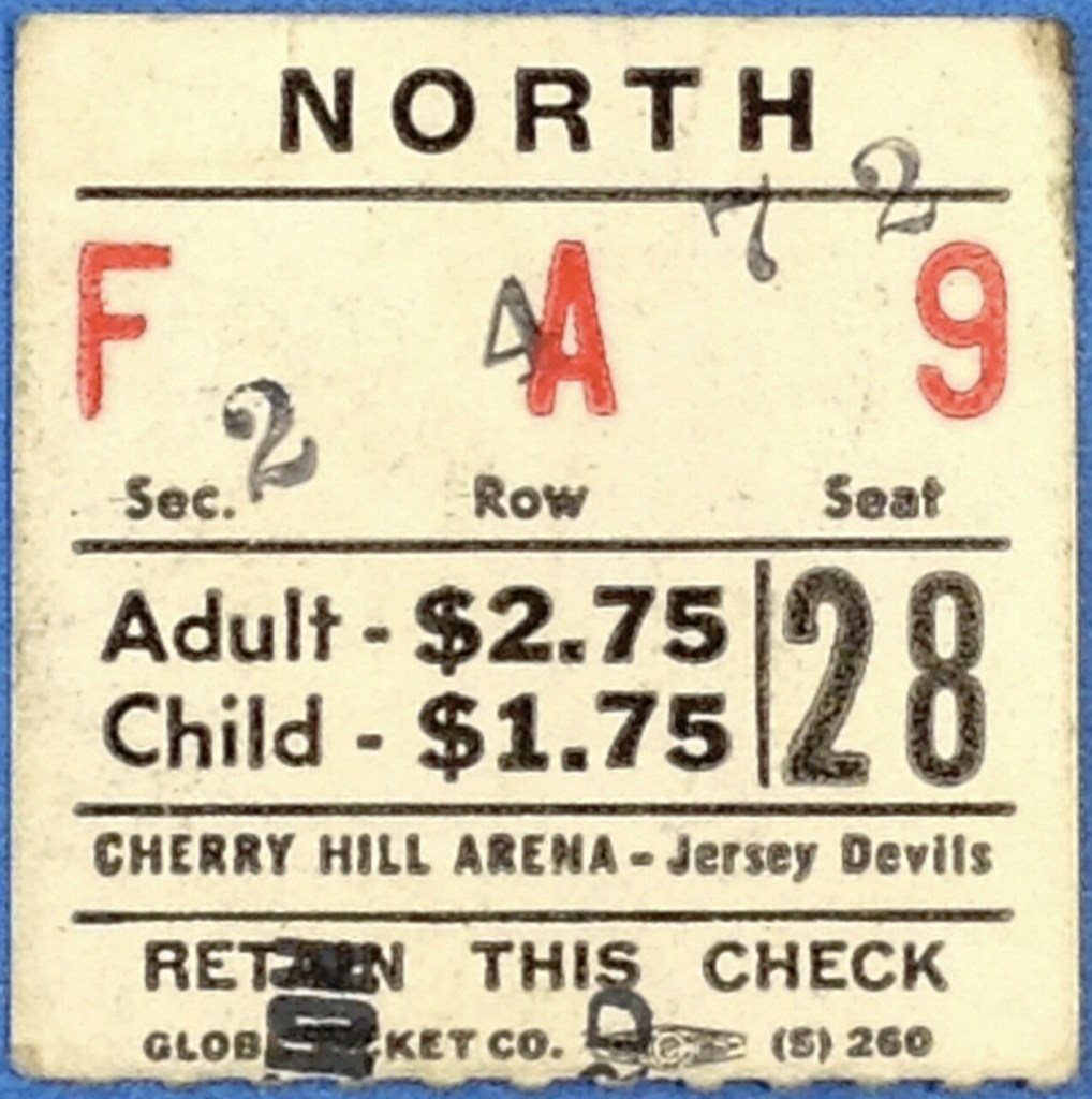 1972 EHL Jersey Devils ticket stub vs Syracuse