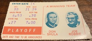 1972 AFC Divisional Game ticket stub Dolphins Browns