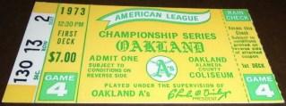 1973 ALCS Game 4 ticket stub A's Orioles 20