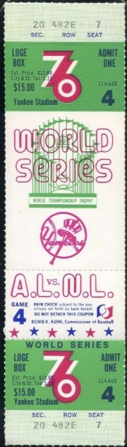 1976 World Series Game 4 full ticket Reds at Yankees 400