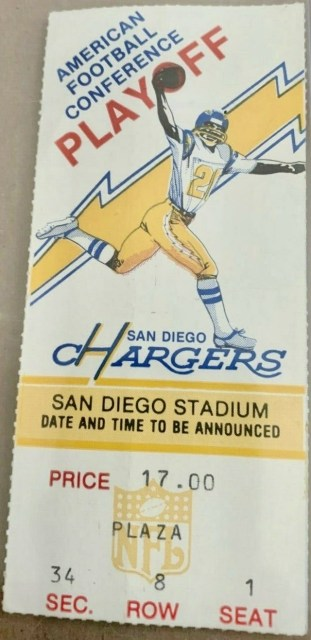 1981 AFC Divisional Game ticket stub Bills at Chargers