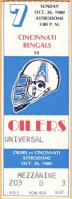 1980 Houston Oilers ticket stub vs Bengals