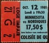 1981 Quebec Nordiques ticket stub vs North Stars