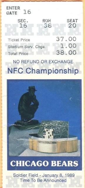 1989 NFC Championship Game ticket stub Bears 49ers 22.50