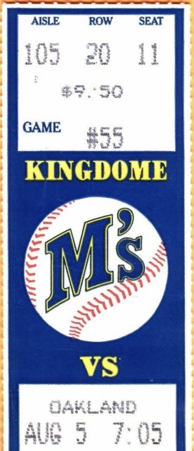 1989 Seattle Mariners ticket stub Dave Parker 300th HR 22.50