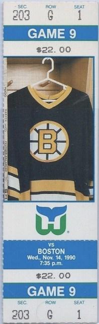 1990 Hartford Whalers unused ticket vs Bruins