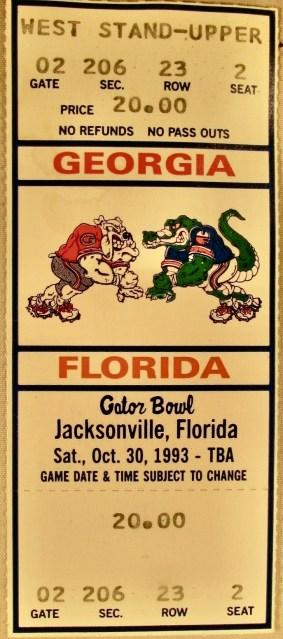 1993 NCAAF Georgia Bulldogs vs Florida Gators ticket stub 5