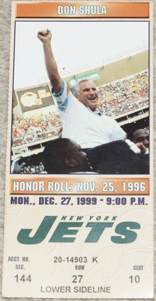 1999 Dan Marino Final TD Pass ticket stub
