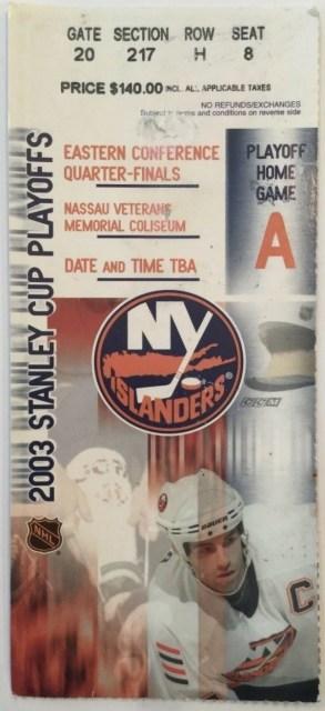2003 Stanley Cup Playoff Ticket Stub New York Islanders vs Senators 5.25