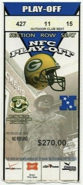 2005 NFC Wild Card Game ticket stub Packers Vikings