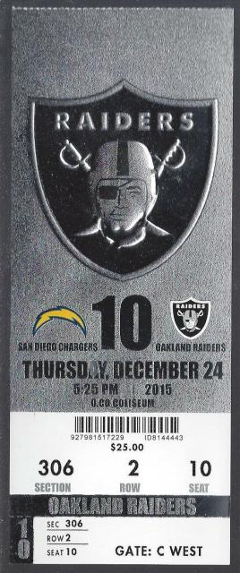 2015 Oakland Raiders ticket vs San Diego Chargers