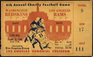 1948 Ticket Stub from 1st NFL Game With Helmet Logo