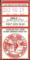 1980 NCAAF UNLV Runnin' Rebels ticket stub vs Fresno State