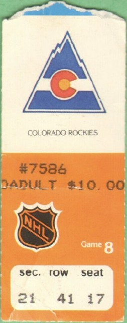 1981 Edmonton Oilers ticket stub vs Rockies