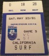 1981 NASL Vancouver Whitecaps ticket stub vs California Surf